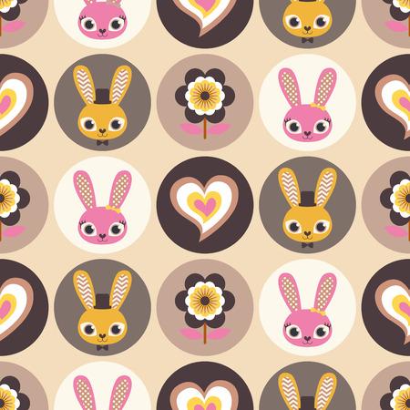 simple life: seamless rabbits cartoon pattern Illustration