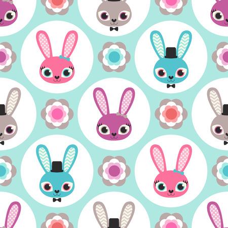 aqua flowers: seamless rabbits cartoon pattern Illustration