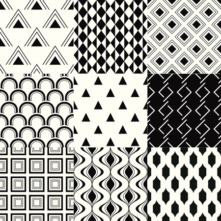 repeated: repeated monochromatic geometric pattern set Illustration