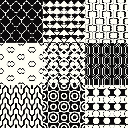 repeated monochromatic geometric pattern set Vector