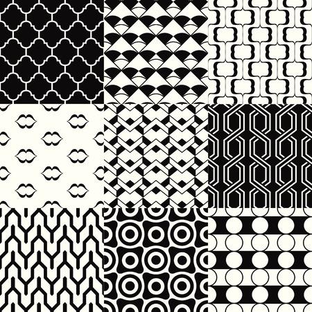 repeated: repeated monochromatic geometric pattern set Illustration