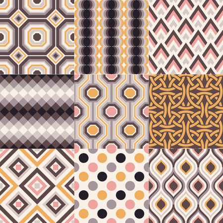 repeated abstract retro geometric pattern set Vector