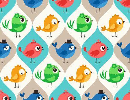 원활한 다채로운 귀여운 새 패턴 벽지 배경