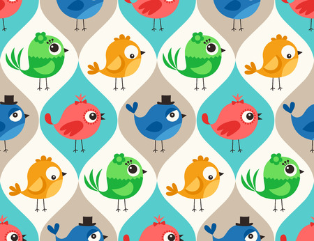 cute wallpaper: seamless colorful cute birds pattern wallpaper background