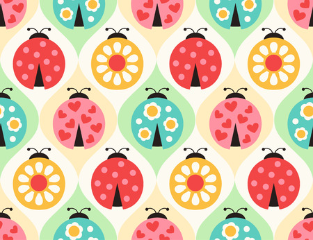 seamless ladybugs cartoon pattern
