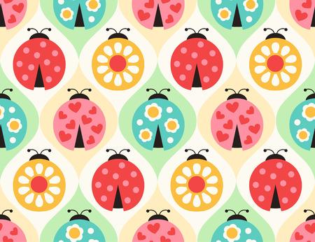 ladybird: seamless ladybugs cartoon pattern
