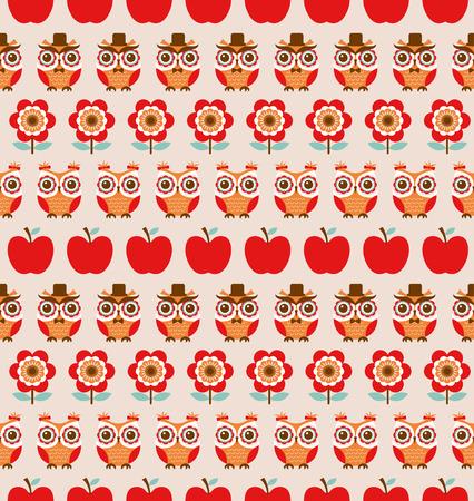 seamless owls cartoon background pattern Vector