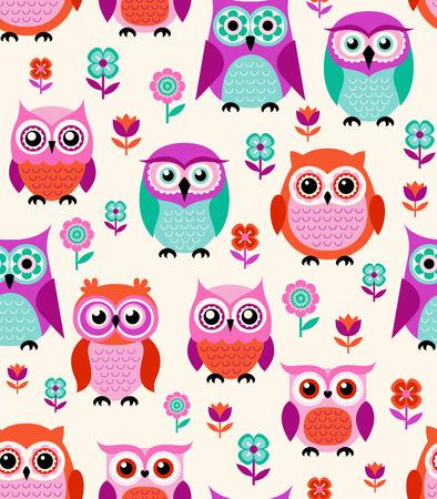 seamless owls cartoon background pattern