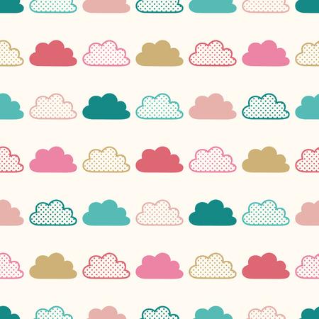 nubes caricatura: patrón de dibujos animados nubes de colores sin fisuras