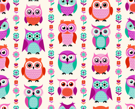 green cute: seamless owls cartoon background pattern