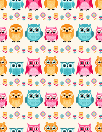 owl vector: seamless owls cartoon background pattern