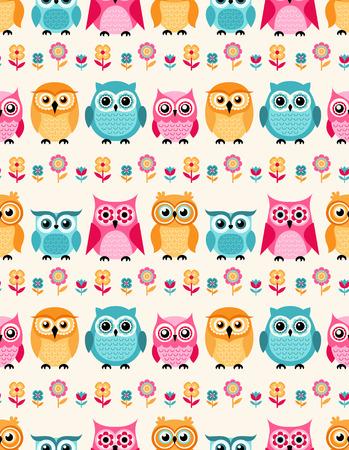 flower nursery: seamless owls cartoon background pattern
