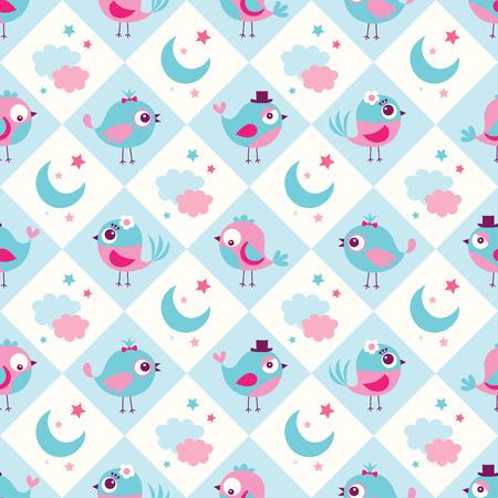 원활한 조류 침실 벽지 배경 패턴