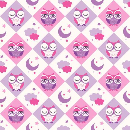 sleepy: seamless birds bedroom wallpaper background pattern