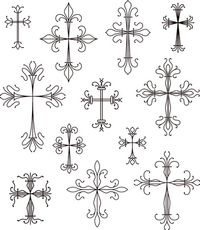 gothic design: cross scroll symbols set