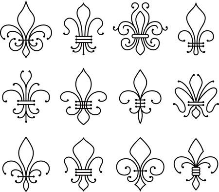 lis: fleur de lys symbol set