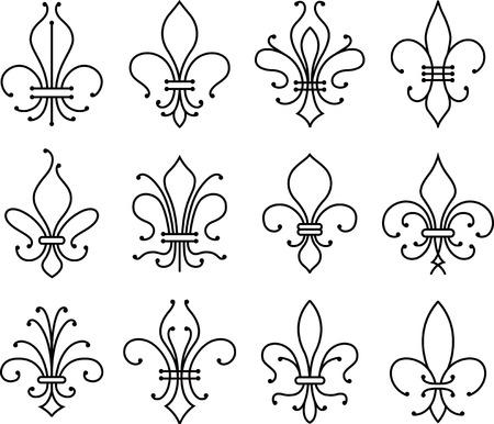 lily flower: fleur de lys symbol set