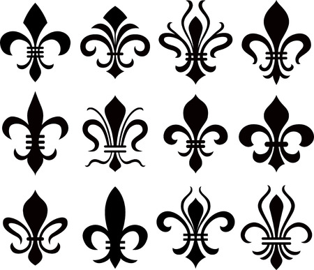 french symbol: abstract fleur de lys symbol set Illustration