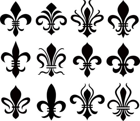 lys: abstract fleur de lys symbol set Illustration