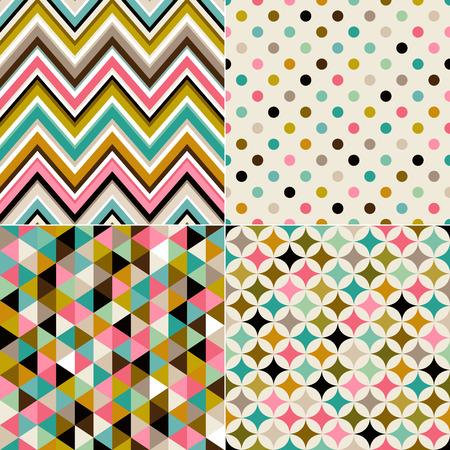 シームレスな多色の幾何学模様セット