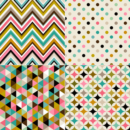 seamless multicolor geometric pattern set