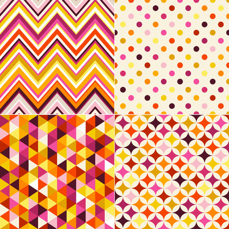 seamless colorful geometric pattern set Vector