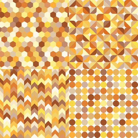 yellow vector: seamless shiny gold metallic geometric pattern set