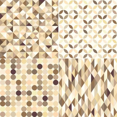 seamless shiny gold metallic geometric pattern set Vector