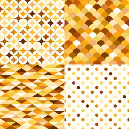 metallic: naadloze glanzende gouden metallic geometrische patroon set