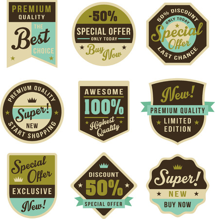 free vector art: Set of vintage badges and labels