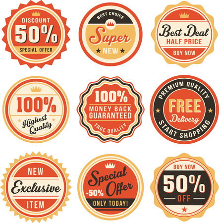 percentage sign: Set of vintage badges and labels