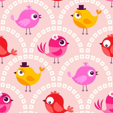 birds cartoon: seamless cute cartoon birds wallpaper pattern background Illustration