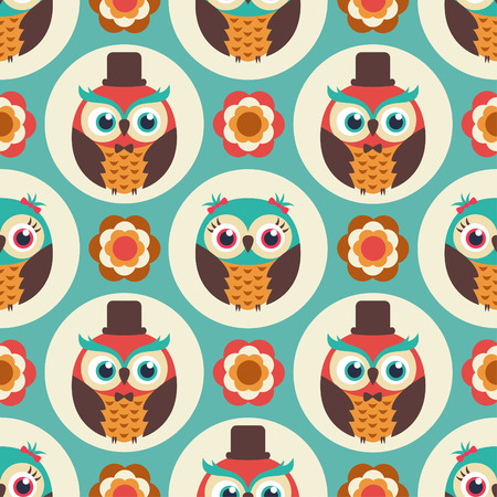 family illustration: seamless owl birds repeated pattern Illustration