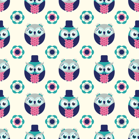 repeated: seamless owl birds repeated pattern Illustration