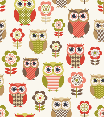 seamless owl birds repeated pattern 일러스트