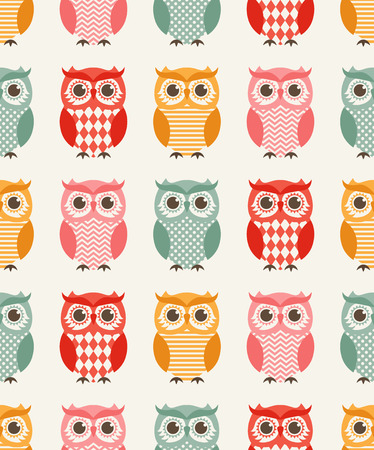 owl vector: seamless owl birds repeated pattern Illustration
