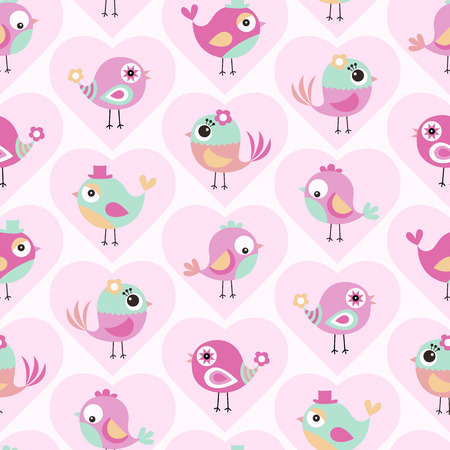 seamless cute birds cartoon wallpaper background