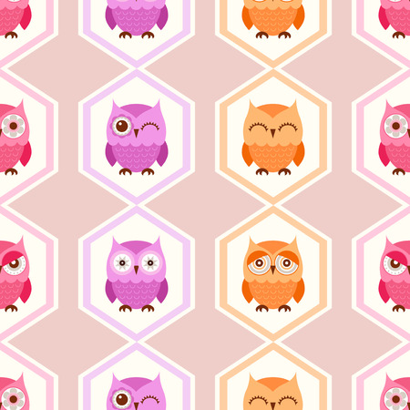 owl vector: seamless owl cartoon pattern