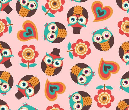 owl: seamless owl cartoon pattern