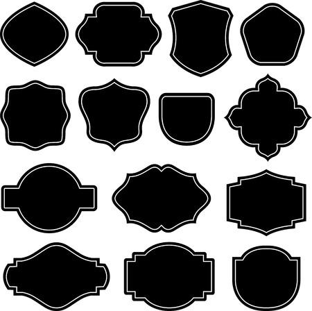 검은 색과 흰색 방패 레이블 실루엣
