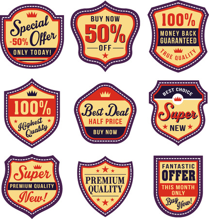 art vector: badge, shield and label sets