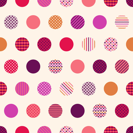 seamless polka dots with geometric texture pattern