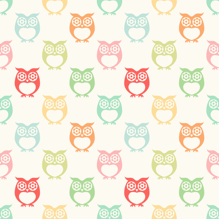 seamless owls cartoon background pattern design Ilustração