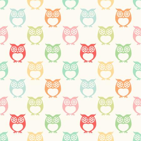 seamless owls cartoon background pattern design Illustration