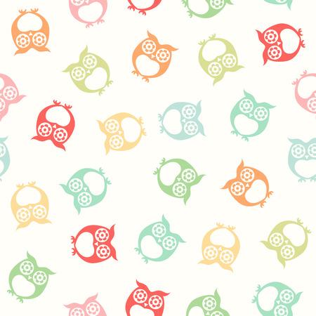 siluetas de animales: seamless owls wallpaper background pattern Vectores