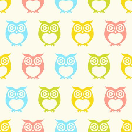 seamless owls wallpaper background pattern Illustration
