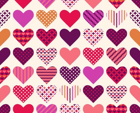 원활한 다채로운 사랑 마음 기호 패치 워크 패턴