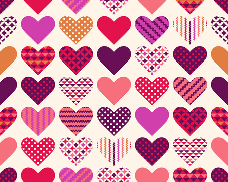 seamless colorful love heart symbol patchwork pattern