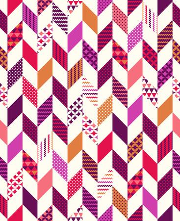 원활한 다채로운 기하학적 헤링본 패치 워크 패턴