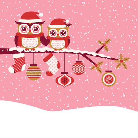 seasons cartoon: Owls couple christmas greeting Illustration